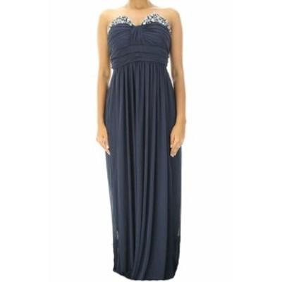 ファッション ドレス City Studios Juniors Navy Strapless Embellished Chiffon Gown 9