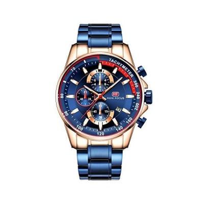 MINI FOCUS メンズ ラグジュアリー クォーツウォッチ ステンレススチールストラップ クロノグラフ 防水 ビジネス腕時計 メンズ ブルー