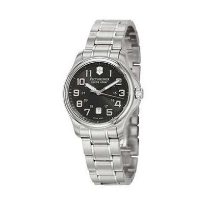 腕時計 スイスアーミー Swiss Army Officer's 125 クォーツ スチール レディース 腕時計 ブラック ダイヤル デート 241368