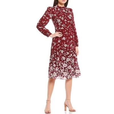 マギーロンドン レディース ワンピース トップス Ruffle Neck Long Sleeve Floral Print Midi Dress