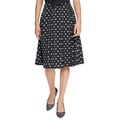 カールラガーフェルド スカート ボトムス レディース Pleated Dot-Print Skirt Black/cream