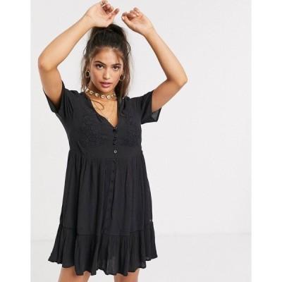 プルアンドベア レディース ワンピース トップス Pull&Bear button front mini dress in black Black