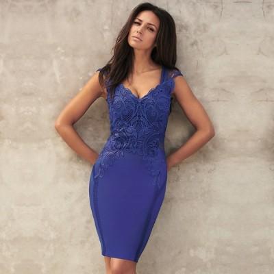 即納 エイソス パーティ用ドレス レディース UK6 7号(XS-S) Michelle Keegan Loves ASOS Applique Lace Bodycon Dress ボディコン レース