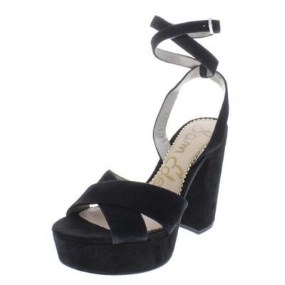 レディース 靴 サンダル Sam Edelman Womens Mara Suede Ankle Strap Platform Sandals Black 9 Medium (B M)