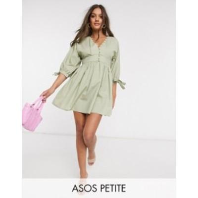 エイソス レディース ワンピース トップス ASOS DESIGN Petite cotton poplin button neck mini smock dress with tie sleeves in light