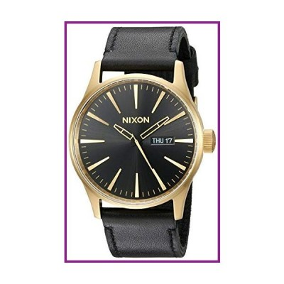 Nixon Sentry Leather A105513-00. Gold and Black Men's Watch (42mm Gold/Black Watch Face/ 23mm Black Leather Band)【並行輸入品】