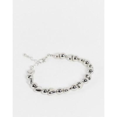 エイソス メンズ ブレスレット・バングル・アンクレット アクセサリー ASOS DESIGN bracelet with heart beads in silver tone