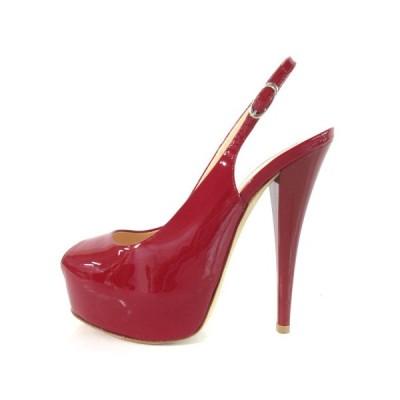 【中古】ジュゼッペザノッティデザイン パンプス ハイヒール オープントゥ アンクルストラップ エナメル レッド 36 靴 IBS77 レディース 【ベクトル 古着】