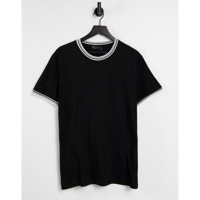 エイソス ASOS DESIGN メンズ Tシャツ トップス T-Shirt With Tipping In Black ブラック