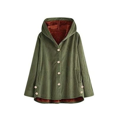 (グリーン,L)ボアコート アウター ジャケット コート ゆったり 暖かい 秋冬 大きいサイズ レディース パーカー