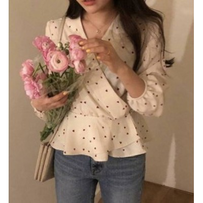ブラウス レディース 長袖 白 韓国 ファッション ハート カシュクール Vネック ぺプラム フリル ゆったり 大人可愛い レトロ フェミニン
