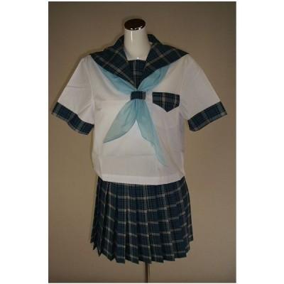 夏紺チェック セーラー服 上下セット (半袖 学校制服 学販 スクール オリジナル スカーフ付,40cm丈)