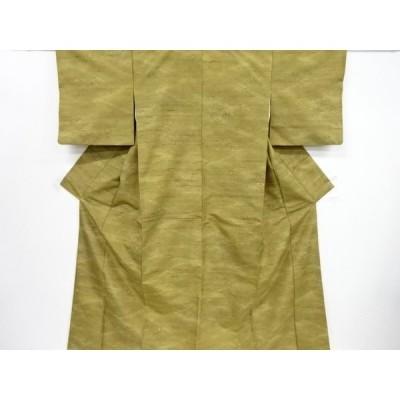 宗sou 竹笹模様織り出し手織り紬着物【リサイクル】【着】