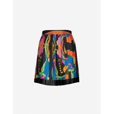 ヴェルサーチ VERSACE レディース ミニスカート スカート Graphic-print high-waist pleated silk-twill mini skirt Nero Stampa