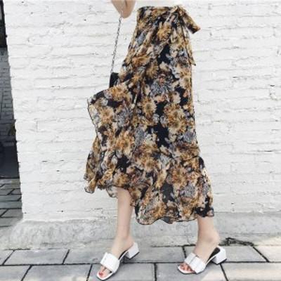 2018新作春夏 レディーススカート花柄ロングスカート AラインマキシスカートHH872