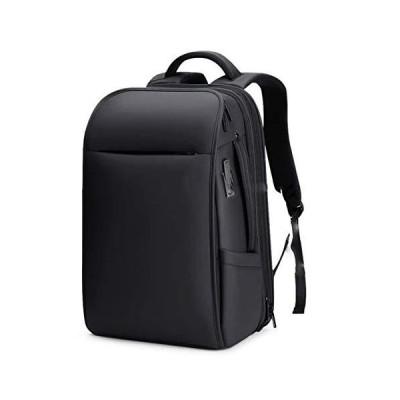 Kanpcelns Men Waterproof Expandable USB Charging 17.3 Inch Laptop Bag Business Travel Bag Backpack Black