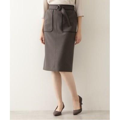 NATURAL BEAUTY BASIC/ナチュラルビューティーベーシック バイカラータイトスカート グレー×チャコール2 L