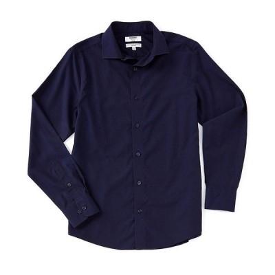 ムラノ メンズ シャツ トップス Slim-Fit Non-Iron Italian Solid Long-Sleeve Woven Shirt Navy