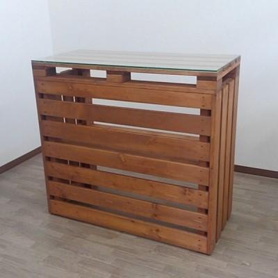 【1点限り】Sample_木製カウンター幅100cmガラス天板スルータイプB002EOKX