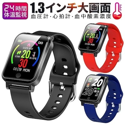 スマートウォッチ 24時間体温監視 着信通知 睡眠検測 心拍数 歩数計 腕時計 IP68防水