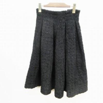 【中古】ランダ RANDA マキシ スカート ロング フレア タック ツイード 厚手 0 (S相当) 黒 ブラック系 レディース