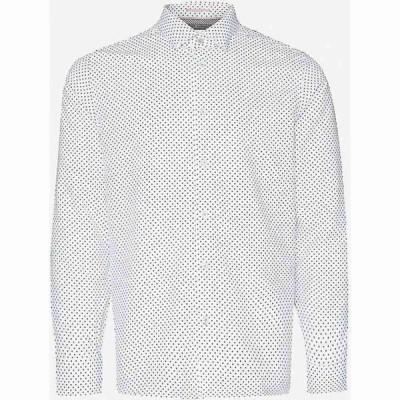 テッドベーカー TED BAKER メンズ シャツ スキニー・スリム スリム トップス Geometric-print slim-fit modal-blend shirt WHITE