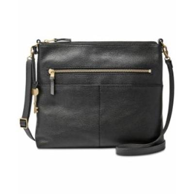フォッシル レディース ショルダーバッグ バッグ Women's Fiona Leather Crossbody Black/Gold