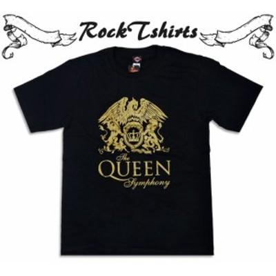ロックTシャツ QUEEN クイーン 金色のロゴ バンドTシャツ メンズ レディース パンク  大きいサイズ