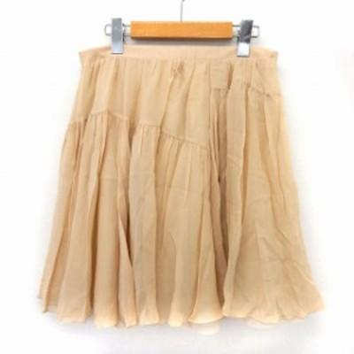 【中古】マカフィー MACPHEE トゥモローランド スカート フレア 膝丈 サイドジップ シンプル 38 ベージュ /ST47