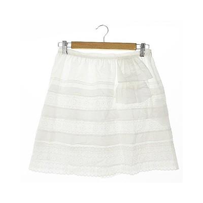 【中古】ジルスチュアート JILL STUART スカート 台形 ミニ 刺繍 カットワーク スカラップ 麻混 リネン混 4 白 ホワイト /AAM28 レディース 【ベクトル 古着】