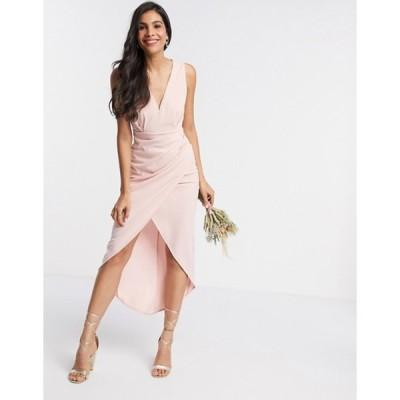 ティエフエヌシー レディース ワンピース トップス TFNC Bridesmaid v neck midi dress in pink