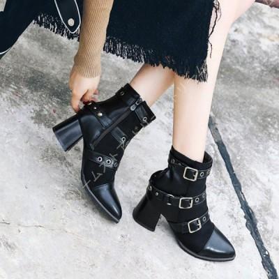 ショートブーツ レディース ポインテッドトゥ 黒 スウェード エンジニアブーツ 大きいサイズ 痛くない 歩きやすい 疲れない 滑りにくい 防寒 履きやすい