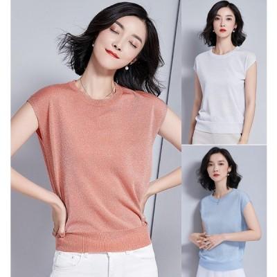 全4色 半袖Tシャツ 薄手 体型カバー 着痩せ プルオーバー タートル カットソー 無地 シンプル カジュアル