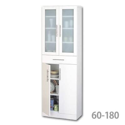 食器棚 ダイニングボード 幅60 カップボード カトレア ミストガラス付き 60-180 23461 ホワイト(代金引換不可)(時間指定不可)(同梱不可)