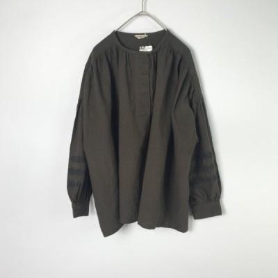 Samansa Mos2 サマンサモスモス 袖刺繍ブラウス リネンコットン 長袖 カーキ SM2