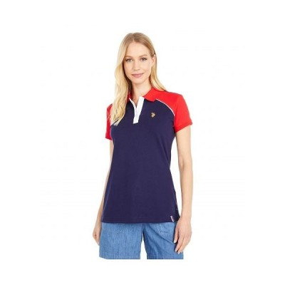 U.S. POLO ASSN. USポロ レディース 女性用 ファッション ポロシャツ Color-Block Shoulder Sleeve Polo - Evening Blue