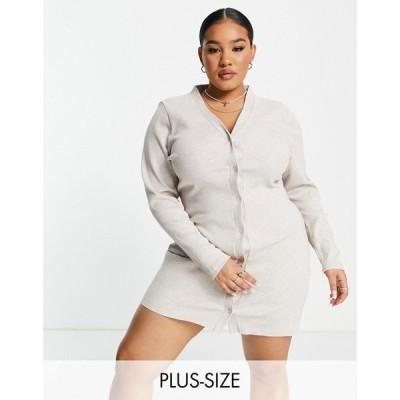 コルージョン Collusion レディース ワンピース ミニ丈 ワンピース・ドレス Plus rib button through mini dress in oatmeal marl オートミール