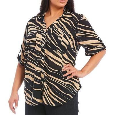 ルビーアールディー レディース シャツ トップス Plus Size Zebra Print Woven Slub 3/4 Roll-Tab Sleeve Button Down Top
