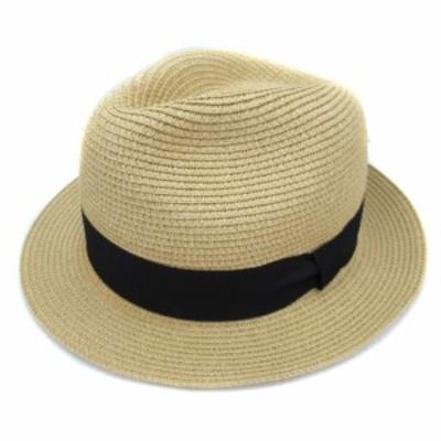 【中古】レイジブルー 帽子 麦わら ハット ストローハット 中折れ リボン F ベージュ 黒 ブラック /FF50 レディース