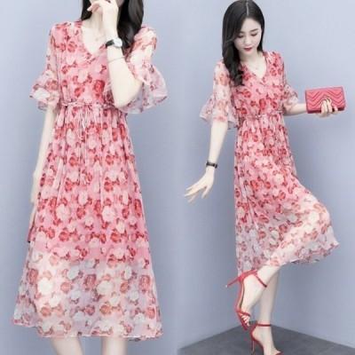 オシャレ夏ワンピ花柄ロングワンピース半袖着痩せシフォンお出かけ30代40代
