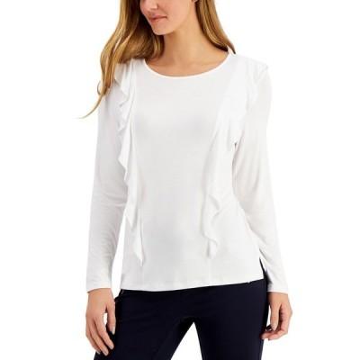 チャータークラブ カットソー トップス レディース Petite Ruffled Long-Sleeve Top Bright White
