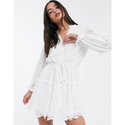 リバーアイランド レディース ワンピース トップス River Island long sleeve broderie smock mini dress in white
