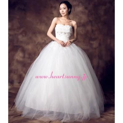 ウェディングドレス ビーズ&花飾りビスチェ 編み上げ ふわふわソフトチュール E187
