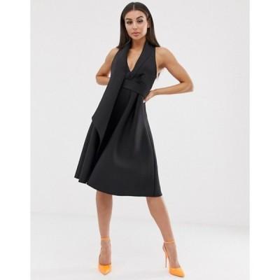 エイソス レディース ワンピース トップス ASOS DESIGN fold front minimal tux prom midi dress