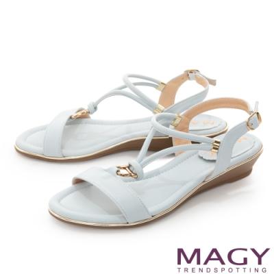 MAGY Y字踝帶楔型低跟 女 涼鞋 淺藍