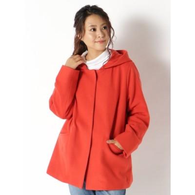 【大きいサイズ】【超割セール中】ウールメルトンフードジャケット 大きいサイズ アウター レディース