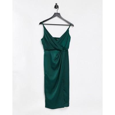 リトル ミストレス Little Mistress レディース ワンピース ラップドレス ワンピース・ドレス Satin Wrap Dress In Forest Green フォレストグリーン