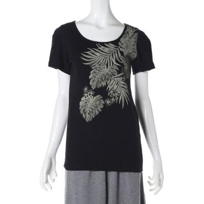 【kahiko】トロピカルリーフ フライスTシャツLサイズ ブラック