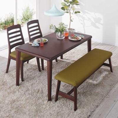 家具 収納 テーブル 机 ダイニングテーブル 角が丸くて優しい天然木ダイニング テーブル 4本脚 幅125奥行75cm 549135