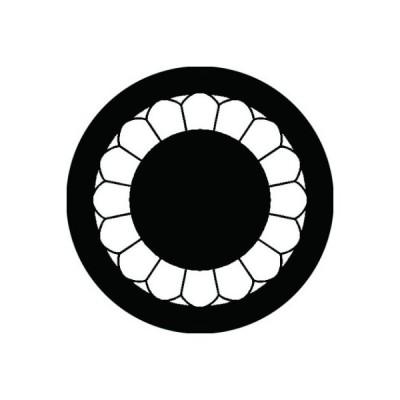 家紋シール 白紋黒地 八重菊輪 布タイプ 直径23mm 6枚セット NS23-2596W